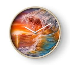 Clock, artistic,decorative,items,ocean,sunset,waves,colorful,orange,modern,beautiful,awesome,cool,home,office,wall,decor,decoration,ideas,for sale,redbubble