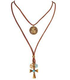 Colar Duplo Trancoso Colar com medalha de São Jorge, cruz, olho grego e medalha com imagem do espirito Santo. www.bethsouza.com.br