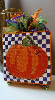 needlepoint pumpkin, designer unknown