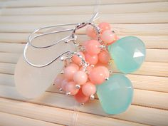 Aqua Blue Chalcedony Peach Pink Coral Earrings in by TeaHarvest