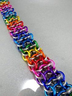 handmade rainbow chainmaille bracelet by Janabolic on etsy.com $30