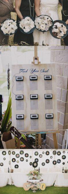 Music Themed Backyard Wedding: Bernadette & Peter · Rock n Roll Bride Music Themed Parties, Music Party, Music Themed Weddings, Fun Music, Seating Chart Wedding, Seating Charts, Wedding Music, Diy Wedding, Wedding Ideas