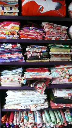 piles of kimono I have collected over the years