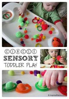 Simple Toddler Sensory Play - Exploring Circles! With my toddler, J.C., in his high chair, I gave him a handful of different sized and colored pom poms.  While he explored them, I grabbed some fuzzy, colorful pipe cleaners and shaped them into circles.