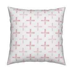 Catalan Throw Pillow featuring Powdered Pink Pluses by anniedeb | Roostery Home…