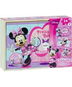 Disney Minnie Mouse 3 Wooden Puzzles in a Box.