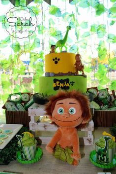The good dinosaur Birthday Party Ideas Dinosaur Birthday Party, 4th Birthday Parties, Boy Birthday, Dinosaur Party Decorations, Kids Party Themes, Party Ideas, The Good Dinosaur Cake, Second Birthday Ideas, Baby Party