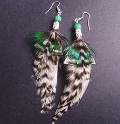 Long feather earrings real feathers with white by FeathersnThingz