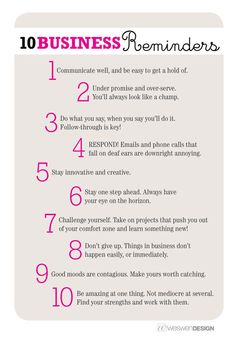 10 Business Reminders, by Weswen Design - Tips and are my favorite. Small business success tips Business Advice, Business Planning, Online Business, Business Quotes, Business Management, Career Advice, Salon Business, Career Planning, Small Business Marketing