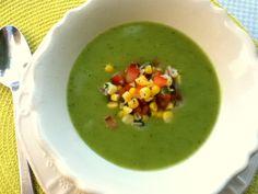 Zucchini soup with corn salsa