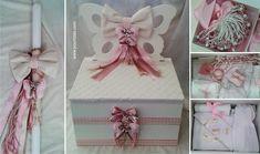 Σετ Βάπτισης με θέμα Πεταλούδες.  Tιμές στο www.pountzas.com. Περιλαμβάνει Κουτί, λαμπάδα, λαδόπανα, πετσέτες, μπουκαλάκι λαδιού, σαπούνι, κεράκια, 50 μαρτυρικά. Αποστολή σε όλη την Ελλάδα & το εξωτερικό. Gift Wrapping, Frame, Gifts, Home Decor, Gift Wrapping Paper, Picture Frame, Presents, Decoration Home, Room Decor