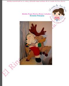 .El Rincon de Ana Maria: Moldes del RENO VOLADOR Christmas Deer, Christmas Ornaments, Deer Pattern, Teddy Bear, Diy Crafts, Toys, Holiday Decor, Fictional Characters, Patterns