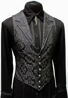 ARISTOCRAT VEST EDWARDIAN BROCADE Shrine of Hollywood is part of Mens fashion suits A Victorian gentleman& vest with class Great for formal occasions, can be worn under a suit jacket or by its - Gothic Fashion Men, Gothic Men, Mens Fashion Suits, Victorian Mens Fashion, Victorian Goth, Fashion Goth, Gothic Beauty, Mens Suits, Womens Fashion