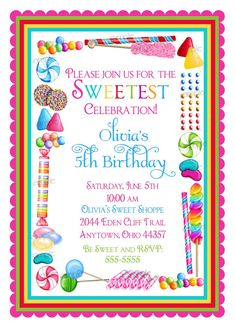 Candy Birthday Invitations, Candy Sprinkle, Candyland, Sweet Shoppe,  Sweet shop, BIrthday, Children, Girls