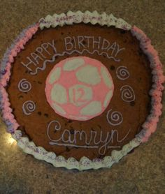 Pink soccer cookie cake