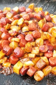 "Candied Kielbasa | ""Kielbasa, also called kielbasy or Polish sausage, is a spicy sausage usually made with pork (though beef is sometimes added). It comes in chunky links, and is sold precooked. I haven't met anyone yet who didn't like this dish."" #dinnerideas #dinnerrecipes #familydinnerideas #supper #supperideas Oktoberfest Food, Spicy Sausage, Kielbasa, Allrecipes, Dinner Recipes, Pork, Cooking Recipes, Favorite Recipes, Yummy Food"