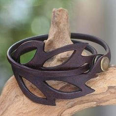 Hand Crafted Leather Bracelet from Indonesia, 'Autumn Leaf' Leather wrap bracelet, 'Autumn Leaf' – Hand Crafted Leather Bracelet from Indonesia The post Hand Crafted Leather… Leather Art, Leather Gifts, Leather Tooling, Sewing Leather, Handmade Leather, Leather Store, Vintage Leather, Leather Earrings, Leather Jewelry