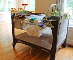 So many great ideas for organizing baby's stuff @ changing station, in closet, for playard, and in kitchen! ...need to get on this!