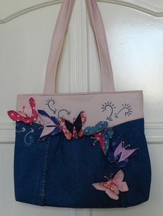 Recycled denim bag with butterfly by Hungariangarden on Etsy