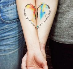 """There are many ways to say """"I love you"""" - getting couple tattoos is our favorite one! Take your love to new heights with these awesome matching tattoos. Heart Tatoo, Couple Tattoo Heart, Couple Tattoos Love, Tattoos For Guys, Couple Tattoo Ideas, Couple Ideas, Small Tattoos, Partner Tattoos, Relationship Tattoos"""