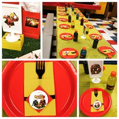 Clash of clans party ideas - love this red and yellow setup (red plates with yellow tablecover)