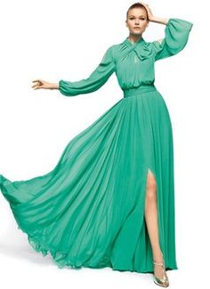 A-Line/Princess High Neck Floor-Length Chiffon Evening Dress With Ruffle Split Front