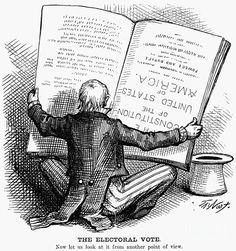 "THE ELECTORAL VOTE - ""NOW LET US LOOK AT IT FROM ANOTHER POINT OF VIEW"" ~ Contemporary American cartoon by Thomas Nast showing a perplexed Uncle Sam reading the Constitution upside down in an attempt to resolve the election between Rutherford B. Hayes and Samuel J. Tilden, in which 20 disputed electoral votes were eventually awarded to Hayes. ~ Election Cartoon, 1876."
