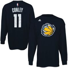 9150e5c6e67a Mens Memphis Grizzlies Mike Conley adidas Navy Blue Name   Number Long  Sleeve T-Shirt