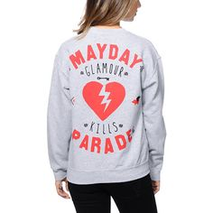 """Rock out with your favorite band and brand in the Glamour Kills x Mayday Parade colab crew neck sweatshirt for girls. Coming in a Grey colorway, this pullover sweatshirt has Glamour Kills and Mayday Parade detailing throughout, perfect for wearing around the house or to your favorite shows."""