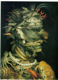 Room 13: Osseous: Giuseppe Arcimboldo: [top to bottom,] Water, Air, Earth, Fire