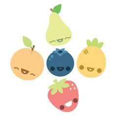 Not Happy Fruit Set Of 5 by Kawaii Not $55.00 now featured on Fab.