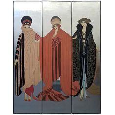 Erte Style Art Deco Silver Leaf Three-Panel Screen Art Room Divider