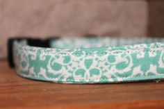 Turquoise Damask Print Adjustable Dog Puppy Collar