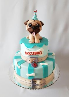Pug birthday cake... - Cake by Katka
