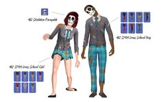 THIS IS FOR SIMS Dress School This is Teen-Elder.Many thanks to the wonderful ♥Skeleton face found in Face Paint.Comes in all original EAxis colors. Sims 2 Hair, Skeleton Face, Ts4 Cc, School Boy, Sims Cc, Outfits For Teens, Halloween Costumes, Female, Boys