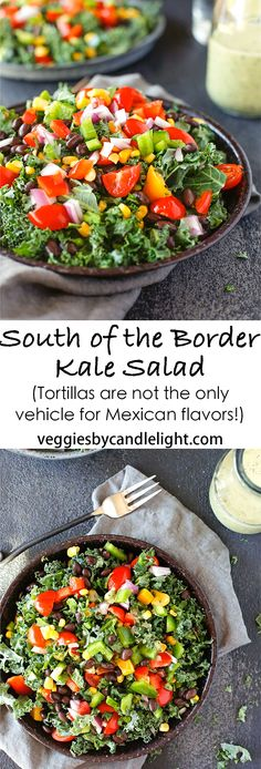 South of the Border Kale Salad - Tortillas aren't the only vehicle for Mexican flavors. A honey-lime dressing for the right touch of tangy sweetness Pasta Recipes, Appetizer Recipes, Salad Recipes, Dinner Recipes, Healthy Salads, Healthy Eating, Healthy Recipes, Delicious Recipes, Free Recipes