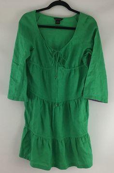 Moda International Victorias Secret S Tunic Dress Green V-neck Plunge Linen Boho #VictoriasSecret #Tunic
