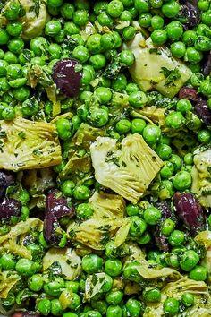 Artichoke, green peas and preserved lemon salad — My Moroccan Food - Slaaie - Pea Salad Recipes, Pea Recipes, Lemon Recipes, Veggie Recipes, Vegetarian Recipes, Cooking Recipes, Healthy Recipes, Green Vegetable Recipes, Simply Recipes