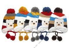 Multicolor Earmuffs Knitting Plush Bear Baby Hat