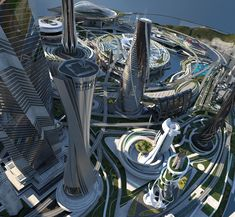The interiors are broken up into public and private areas having seamless connectivity and an open design program. City Architecture, Futuristic Architecture, Amazing Architecture, Futuristic City, Futuristic Technology, Sci Fi City, Future Buildings, Fantasy City, Central Business District