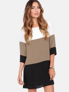 White coffee black colour block dress 15.99