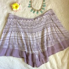 Free People Lavender Boho Shorts Lavender printed shorts with lining. Super cute and flowy. Almost looks like a skirt when you wear them. Selling because they are too big for me. In great condition. Free People Shorts