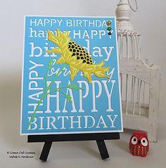 Big, Bright Birthday!  PoppyStamps Bountiful Sunflower, Happy Birthday Background