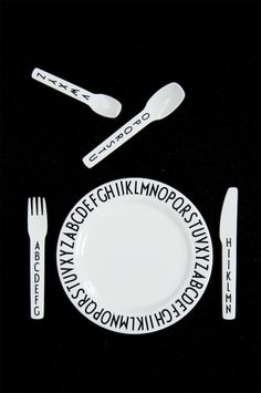 Design Letters kids cutlery. Designed by Tobias Jacobsen (Arne Jacobsens grandson) decorated with Arne Jacobsens world-renowned typography!
