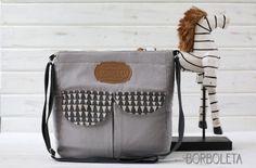 Gray Crossbody Messenger / Diaper Bag Chandra by BorboletaAffair, $39.00