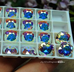 Swarovski Crystal AB 10mm Cushion Cut 4470 Square With Prong Setting Crystal Sew On Craft Supplies Jewelry Making March Birthstone