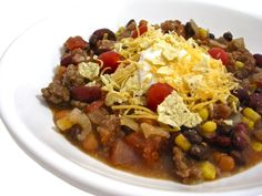 Skinny Crock Pot Taco Stew (or stove top) This NEW recipe is a thick stew or super chunky soup and it's absolutely delicious! So healthy and loaded with fiber rich beans. Each serving has 259 calories, 2 grams fat, 12 grams of fiber and 6 Weight watchers POINTS PLUS. http://www.skinnykitchen.com/recipes/skinny-crock-pot-taco-stew-or-stove-top/