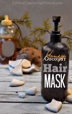 ***Homemade Honey Coconut Hair Mask*** Here is a simple Beauty DIY- Homemade Honey Coconut Hair Mask.  This homemade beauty recipe is super simple since it only requires two ingredients- Honey & Coconut Oil. Honey is a natural humectant and great moisturizer. Coconut oil can actually penetrate the hair to smooth the cuticle. #diybeauty #homemadebeauty