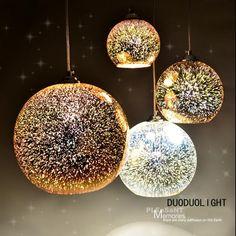 Classique conception LED lampe pendentif lumière diamètre 20 cm 3D coloré Plaqué Verre Miroir Boule pendante luminaire dans Lampes Suspendues de Lumières et Éclairage sur AliExpress.com | Alibaba Group
