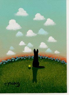 Black+German+Shepherd+Dog+Original+folk+Art+by+ToddYoungArt,+$54.95